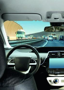 Picture form the backseat of a  self-driving car